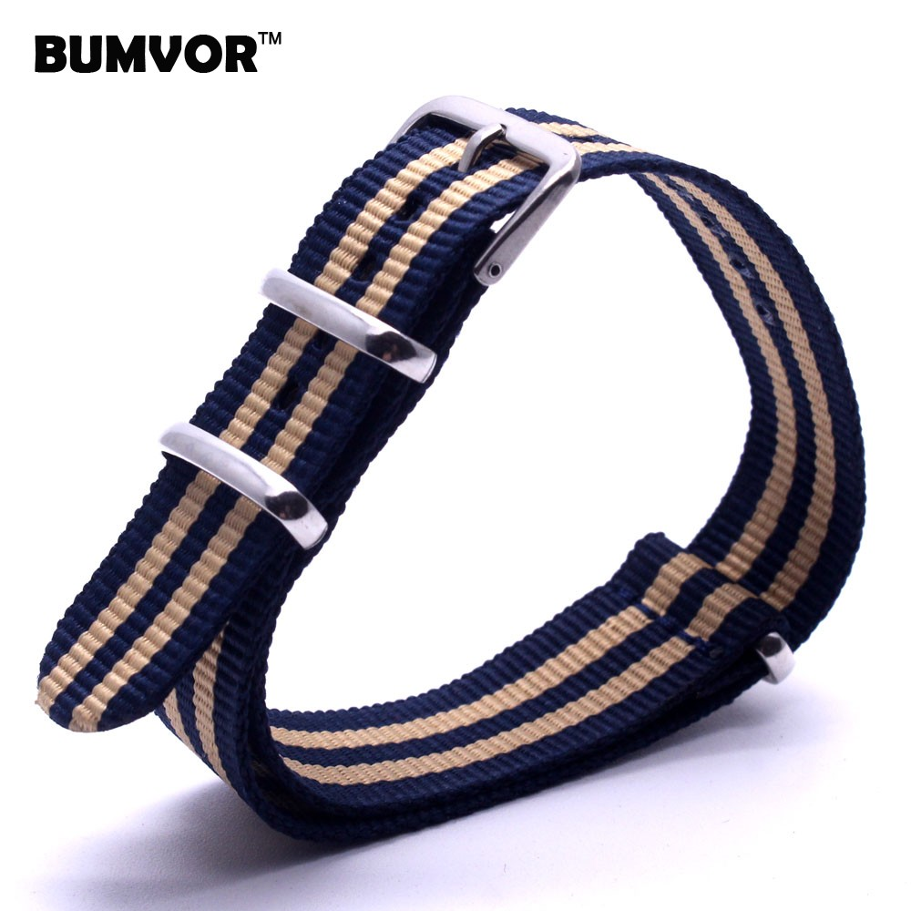 купить Beige 18 mm Strong Military Army Light Yellow Navy nato fabric Nylon Watch Watch Band Woven Straps Band Buckle 18mm For watches по цене 128.53 рублей