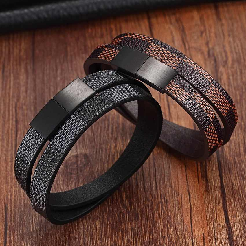 Handmade Cross Wide Cuff Bracelets Stainless Steel Magnetic Genuine Leather Bracelets Men Bracelets & Bangles for Women Jewelry