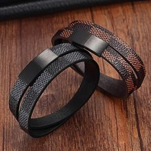 Handmade Cross Wide Cuff Bracelets Stainless Steel Magnetic Genuine Leather Bracelets Men Bracelets & Bangles for Women Jewelry(China)