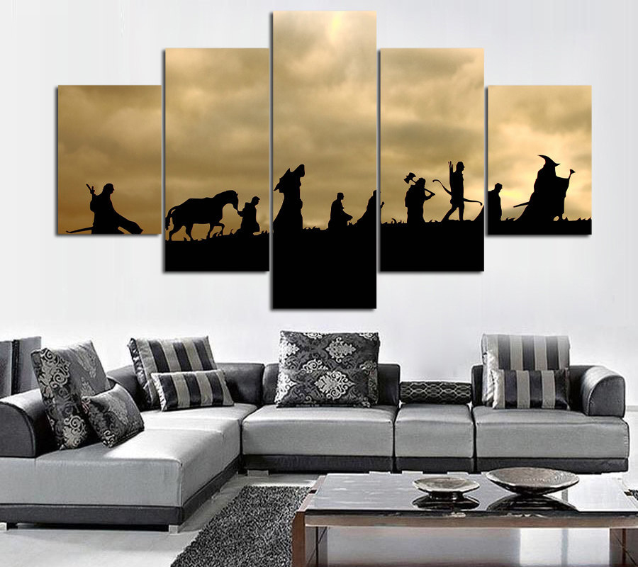 Canvas Painting The lord of rings Movie Silhouette Poster 5 Panels Prints Wall Art Home Painting For Living Room image