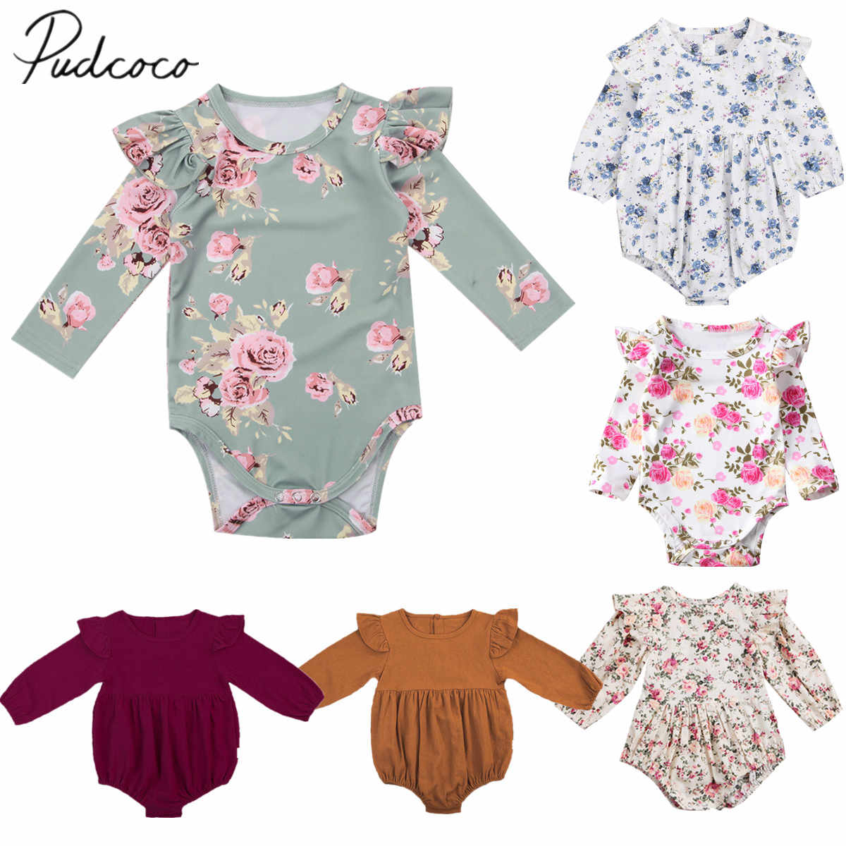 2018 Brand New Toddler Infant Newborn Baby Girls Kids Long Butterfly Sleeve Romper Outfits Playsuit Jumpsuit Floral Clothes 0-3Y