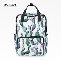 BURRUI New Waterproof Design Square Shoulder Bag Fashionable Printed Backpack Cactus Bag Travel Maiden Totes Unisex Preppy Box