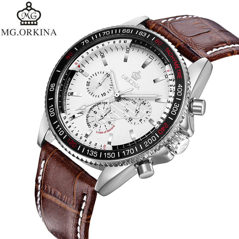 2017 MR.Orkina Casual Mens Relogio Masculino Day Quartz Watch Watches PU Leather Wrist Watches Gift Box Free Ship