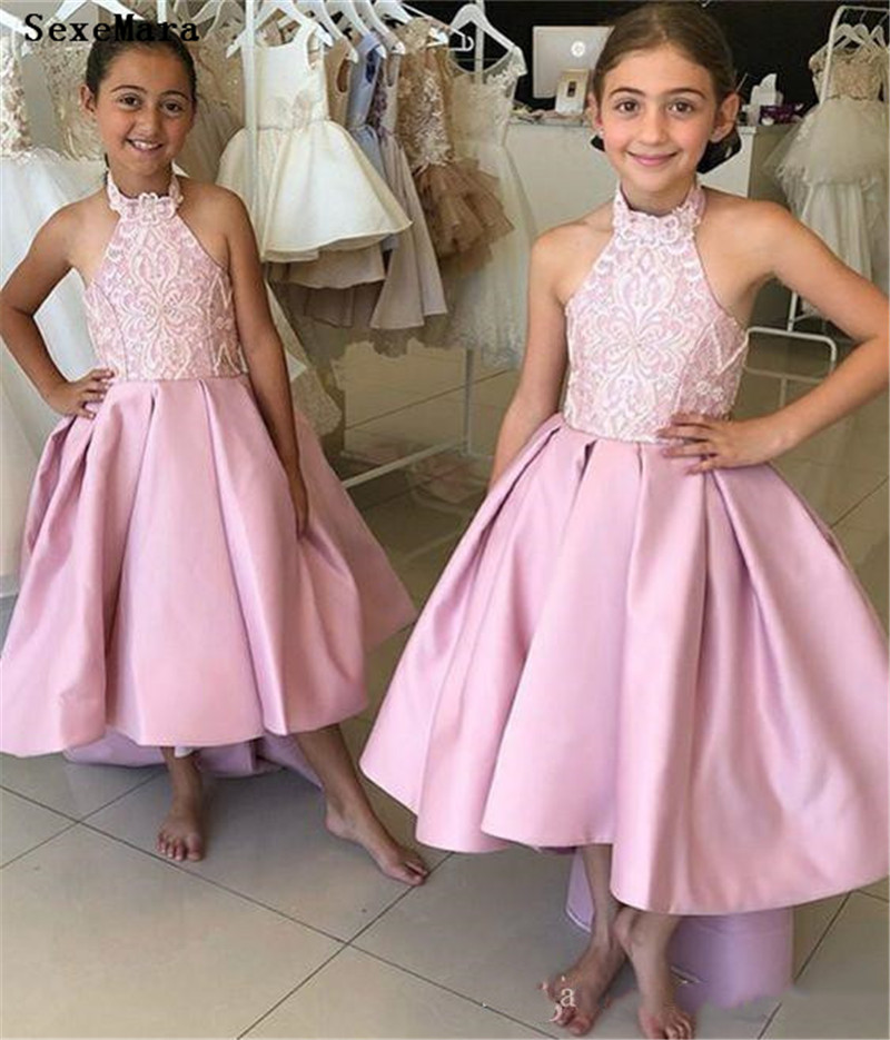 Unique Design High Quality Satin Flower Girl Dress For Wedding Open Back Covered With Buttons  High Low Halter Kids Pageant GownUnique Design High Quality Satin Flower Girl Dress For Wedding Open Back Covered With Buttons  High Low Halter Kids Pageant Gown