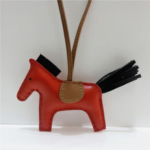 Handmade Luxury Lambskin Genuine Leather Horse Keychain Animal Key Chain Women Bag Charm Pendant Bag Accessories Birthday Gifts latest fashion genuine leather rodeo pony charm for women s bag new horse bag charm 2 side bicolor pm 13 10 cheap purse charm