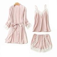 Chinese National Trends Women Silk Nightwear Sexy Lace Trim 3PC Cami&Pant&Robe Sleep Set Kimono Bath Robe Night Gown Pajama Suit
