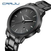 2017 New Fashion Black Wrist Watch Women Men Full Steel Casual Quartz Clock Male Wristwatch Gift