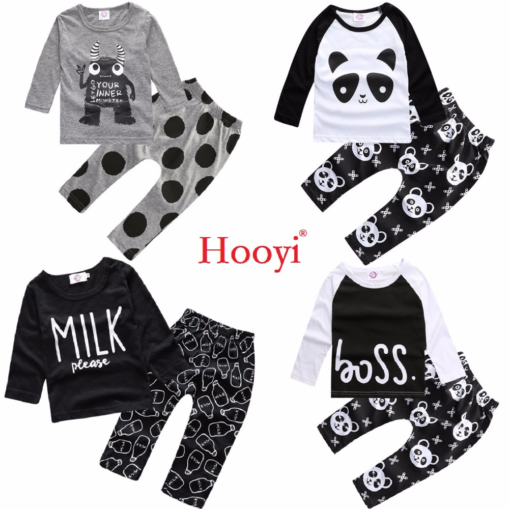 Hooyi Fashion Baby Clothes Suits Children 2-Pieces Clothing Sets Cotton Panda Monster Boys Tee Shirts Pants Newborn Outfits Tops