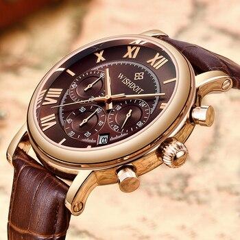 4e4d4f65361c WISHDOIT relojes para hombre marca impermeable deportes reloj automático  fecha Casual para hombre marrón de cuero reloj de cuarzo reloj Masculino
