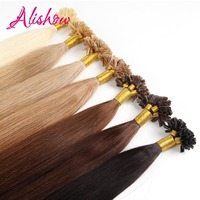 Alishow 50g Remy Human Hair Nail U Tip Hair Extensions Straight Pre Bonded Hair On Keratin Capsules #2 Dark Brown 0.5g/S