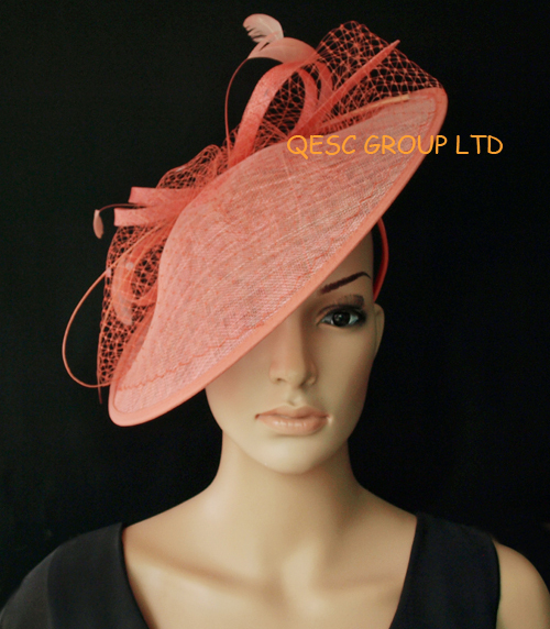 81bc5c70 US $96.0 |NEW BIG saucer Sinamay Fascinator kentucky derby  hat.coral,black/ivory,royal blue,coral ,heather pink.FREE SHIPPING-in  Women's Hair ...