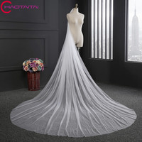 Bridal Veils 2017 Hot Selling Long Two 3 M Layer Ivory White Soft Tulle Head Women
