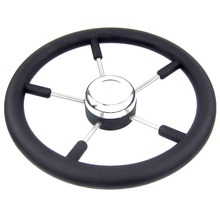 Boat Accessories marine 13-1/2 Stainless steel Steering Wheel with Polyurethane Foam Black Fits 3/4 Shaft