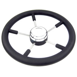 Boot Accessoires marine 13-1/2 5-Spoke Boot rvs Stuurwiel met Polyurethaanschuim Black Past 3/4 As