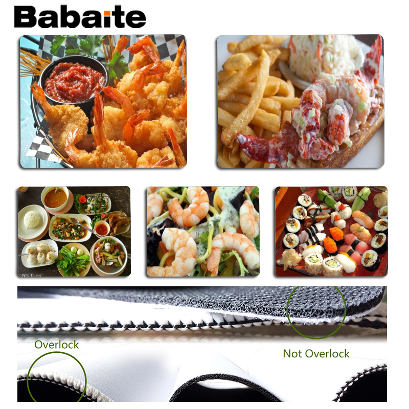 Babaite 2018 New Seafood Large Mouse pad PC Computer mat Size for 180x220x2mm and 250x290x2mm Small Mousepad