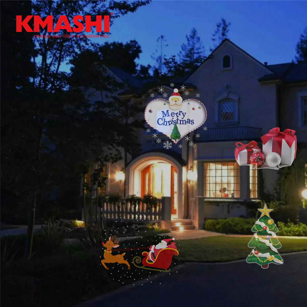 kmashi 16 pattern slides sparkling laser light show rotating outdoor projection lights christmas projector lights for holiday in lawn lamps from lights - Laser Light Show Christmas