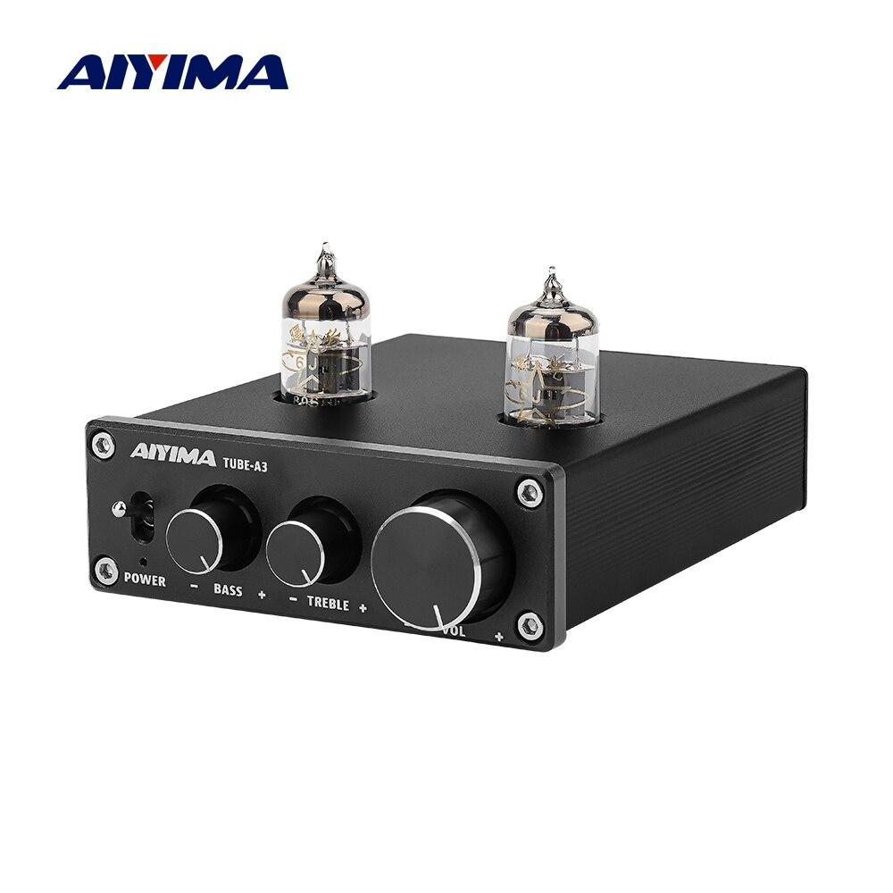 AIYIMA 6J1 Bile Amplificador Valvulado HIFI Preamp Preamplifier Graves Agudos Ajuste DC12V Para Amplificador de Áudio Amplificador Speaker