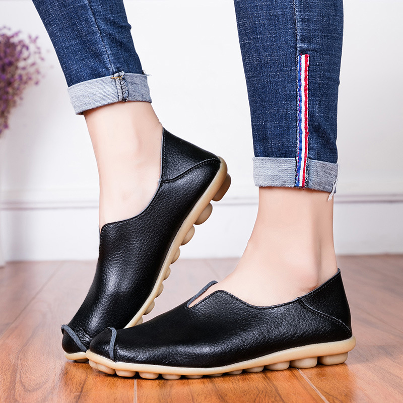 Loafers Ladies Flat-Shoes Moccasins Spring Comfortable Soft Autumn Genuine-Leather Women