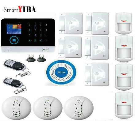 SmartYIBA Android IOS APP Control Fire Smoke Detector Sensor Home Alarm Security System GPRS GSM WIFI Touch Keypad LCD Display wireless gsm pstn home alarm system android ios app control glass vibration sensor co detector 8218g
