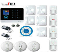 SmartYIBA Android IOS APP Control Fire Smoke Detector Sensor Home Alarm Security System GPRS GSM WIFI Touch Keypad LCD Display