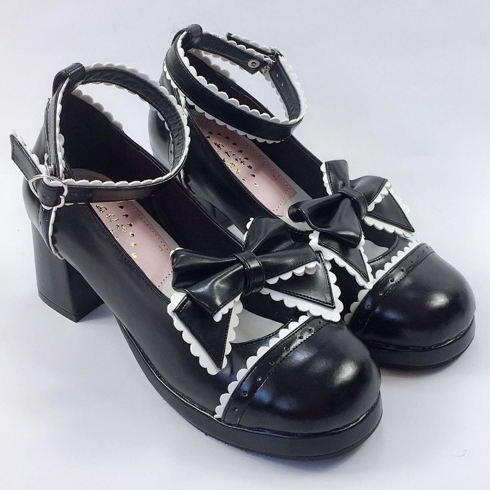 Garniture Noir Blanc Chaussures Japonais Femmes Avec Talons Arc Pu En Cuir Lolita Strap Boucle Cosplay Carrés fgUxwn