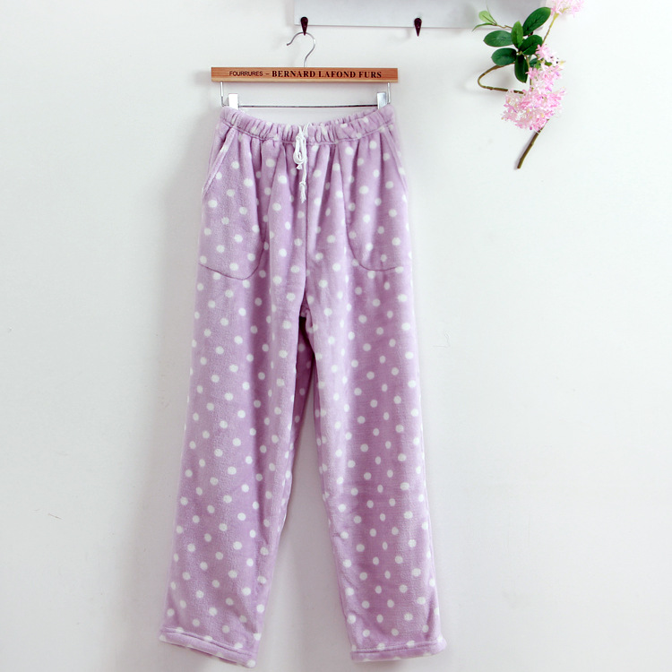 Autumn Winter Lounge Pants Women Sleep Bottoms Dot Loose Flannel Pajama Pants Sleep Nightwear Indoor Clothing Pink Green