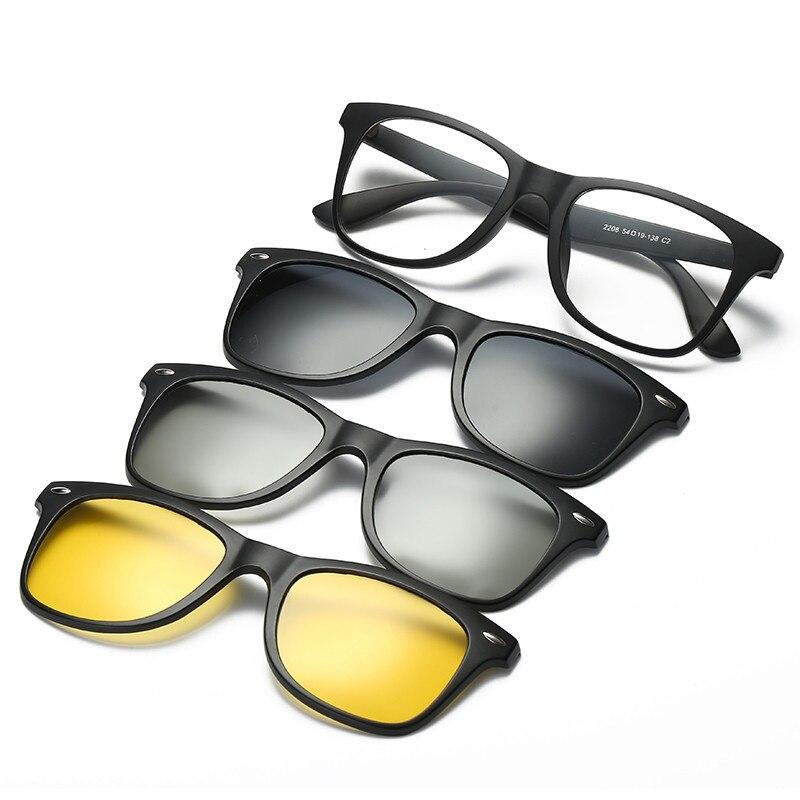 Polarisierte 3D Nachtsicht Sonnenbrille mit 3 STÜCKE Magnetclips TR  Männlichen Clip Auf Gläser Magnet Casual Optische Myopie brillen 229b0137c8