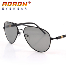 Aoron New Brand Designer Men Photochromic Sunglasses Driving Driver Polarized Sunglasses Goggles Metal Glasses 552