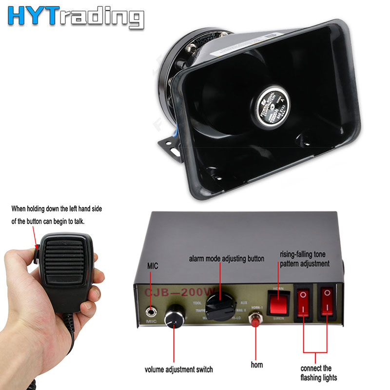 Car Horns 200W PA Black Metal Lould Speaker 12V Megaphone Electronic Speaker For Emergency Firetruck Signal