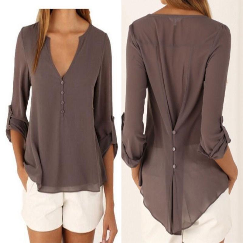 ファッション女性ブラウスシャツプラスサイズS-4 XLキモン女性長袖シフォンブラウスシックなエレガントな女性ルーズトップスシフォンシャツaライン