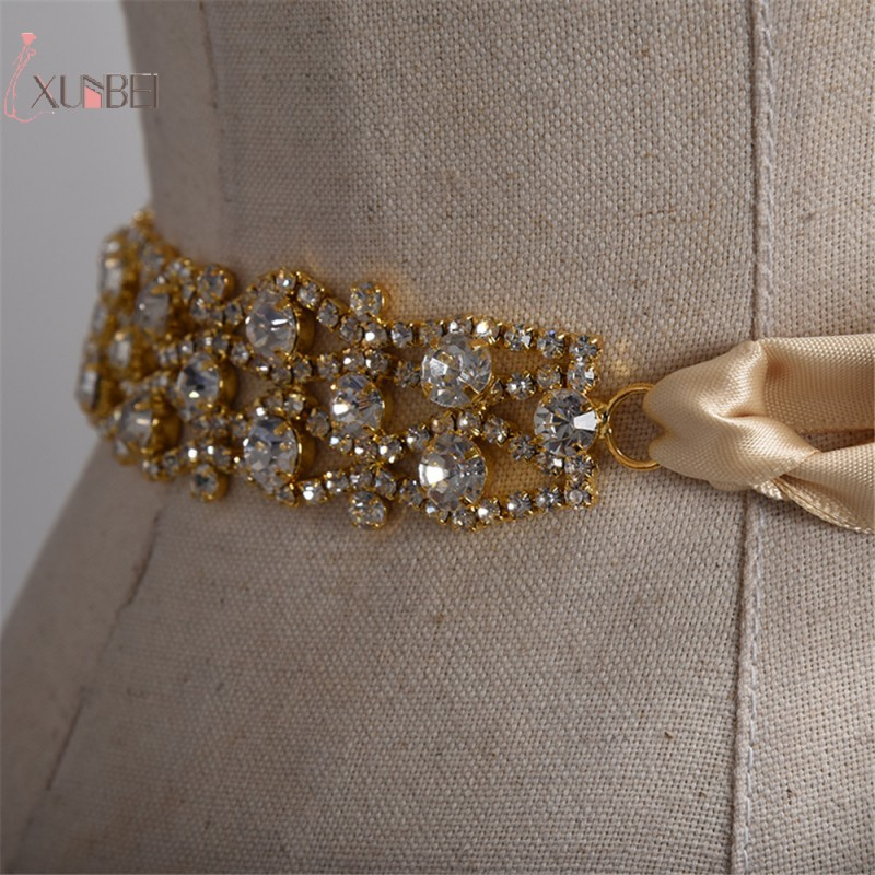 Handmade Rhinestone Belt Crystal Wedding Bridal Belt Sash Satin Ribbon Gold Silver Wedding Accessories New