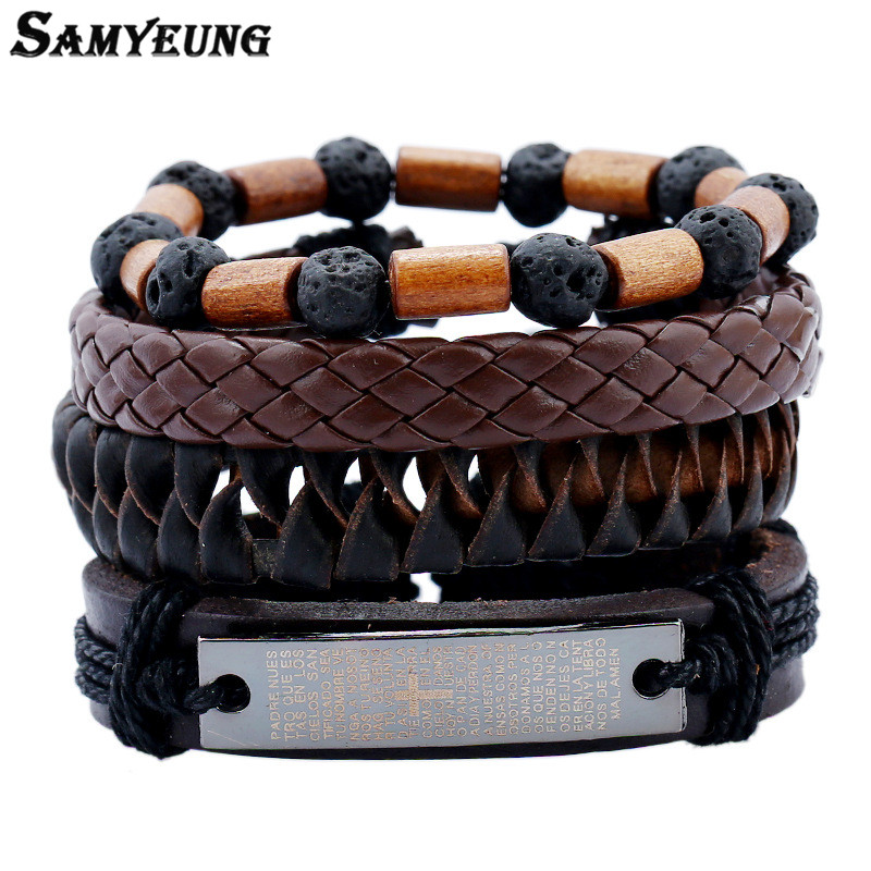 SamYeung 4Pcs Cross Pu Leather Braided Bracelets DIY Men Handmade Bracelet Friendship for Male Braslet Pulseras Women Jewelry