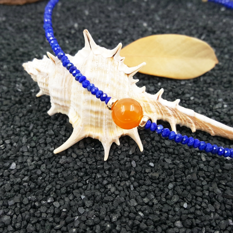 LiiJi Einzigartige Natürliche Lapis Lazuli 2x3mm Karneol Süßwasser Perle mit 925 Sterling Silber Gold Farbe Halsband Neckalce-in Choker Halsketten aus Schmuck und Accessoires bei  Gruppe 3