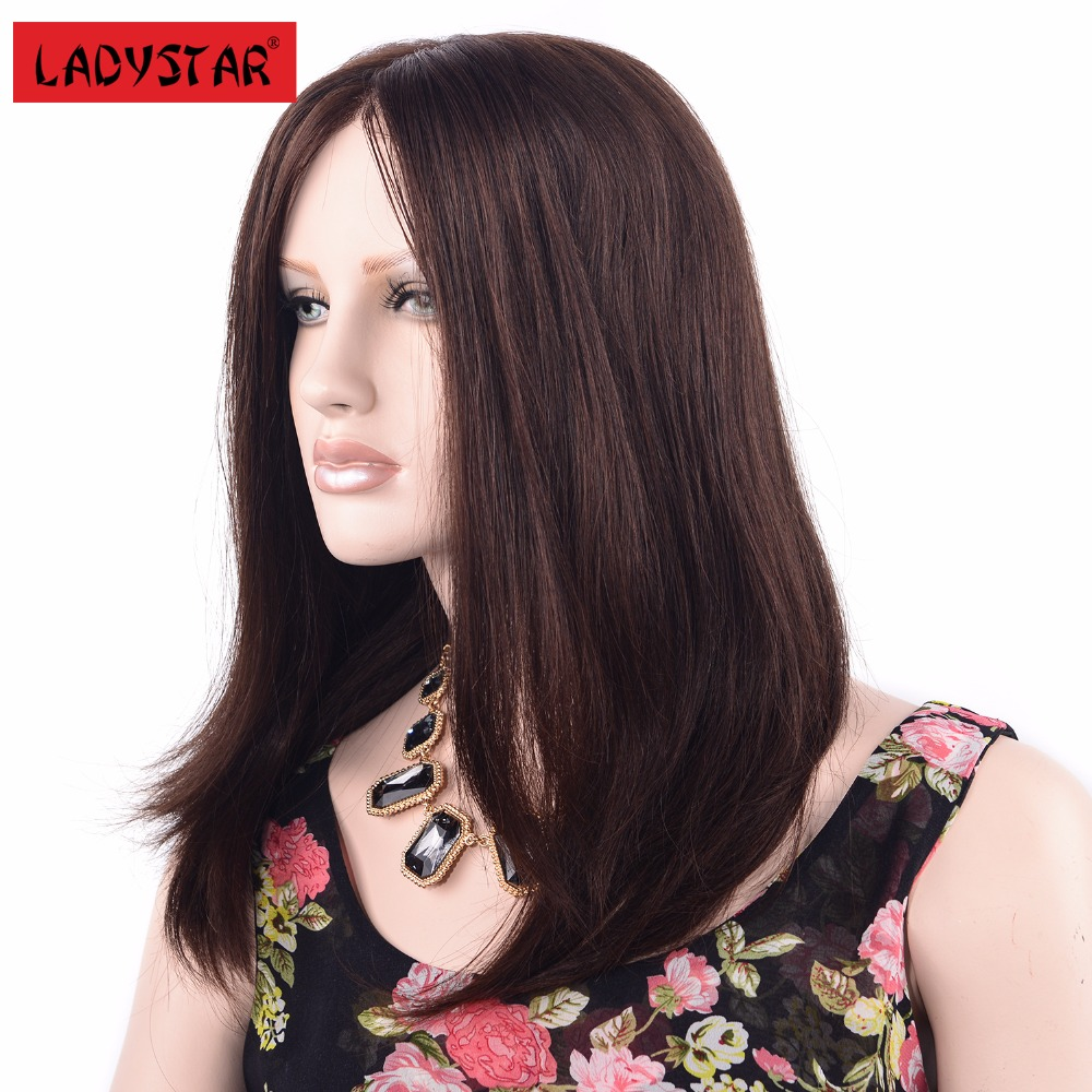 LADYSTAR Remy Human Hair Brazilian 130% Density Straight Full Lace Wig For Women Full Hand Made Double Lace Wig