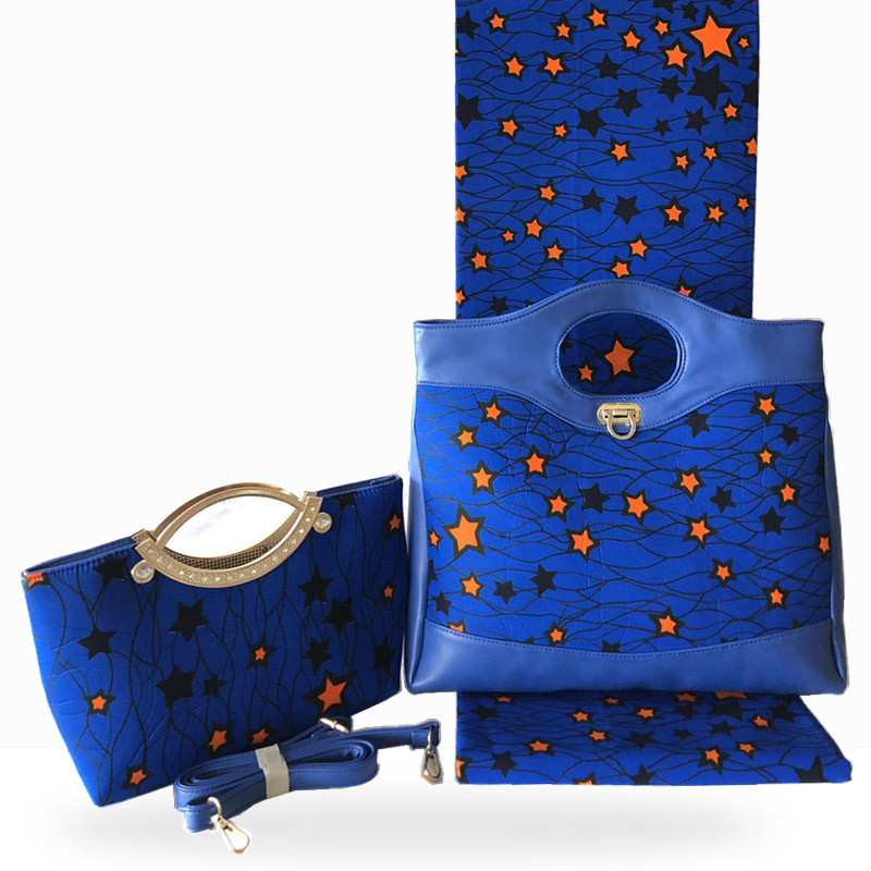 African bags for women handbag high quality wax bag set match Ankara african wax print fabric for women dresses 6 yard/lot HF021
