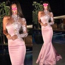 Zarif pembe uzun Mermaid abiye uzun kollu bir omuz yüksek boyun Illusion dantel Kaftan Dubai balo elbise örgün önlük