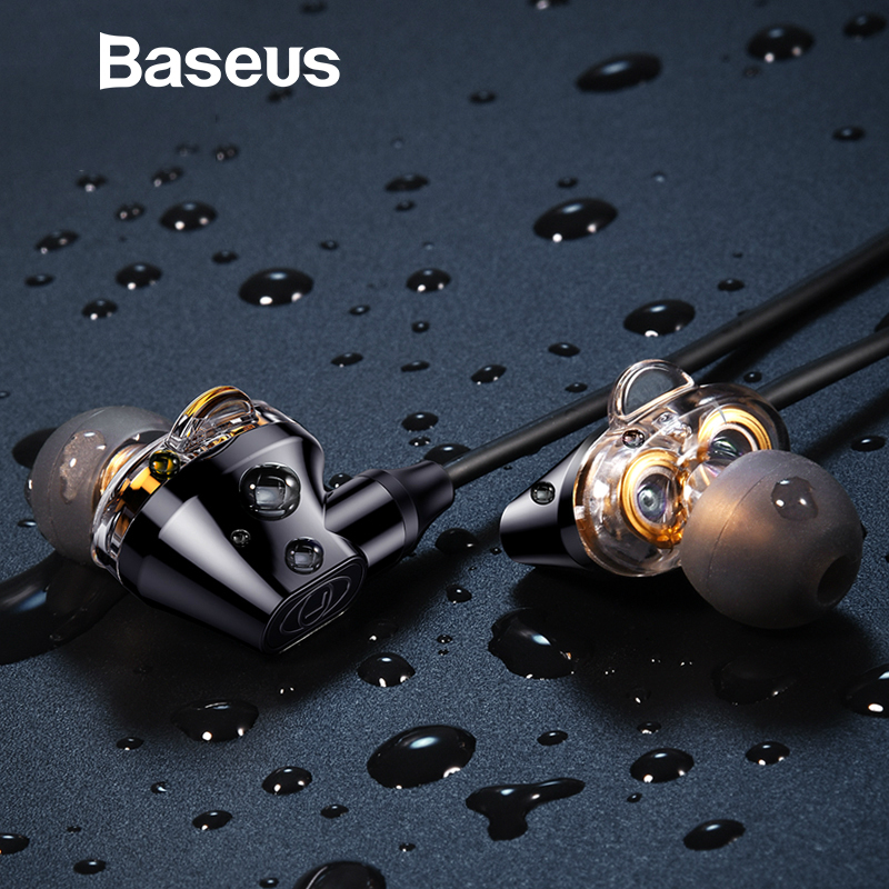 Baseus H10 Double dynamic 3.5MM Wired Earphone stereo bass sound earphones with mic for xiaomi fone de ouvido auriculares MP3 doosl super bass in ear dynamic earphones metal hifi stereo sound music earbud headset for iphone xiaomi mp3 fone de ouvido