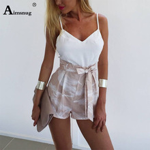 Aimsnug White Criss-Cross Slim Camis Fitted Crop Tank Top And shorts Set Summer Solid Skinny Sleeveless Women Two Piece Outfits