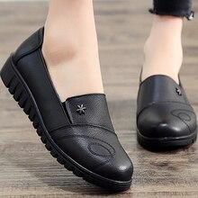 Chaussures noires pour femmes, souliers plats en cuir véritable, de loisirs et bout rond, grande taille 41, collection chaussures pour femmes