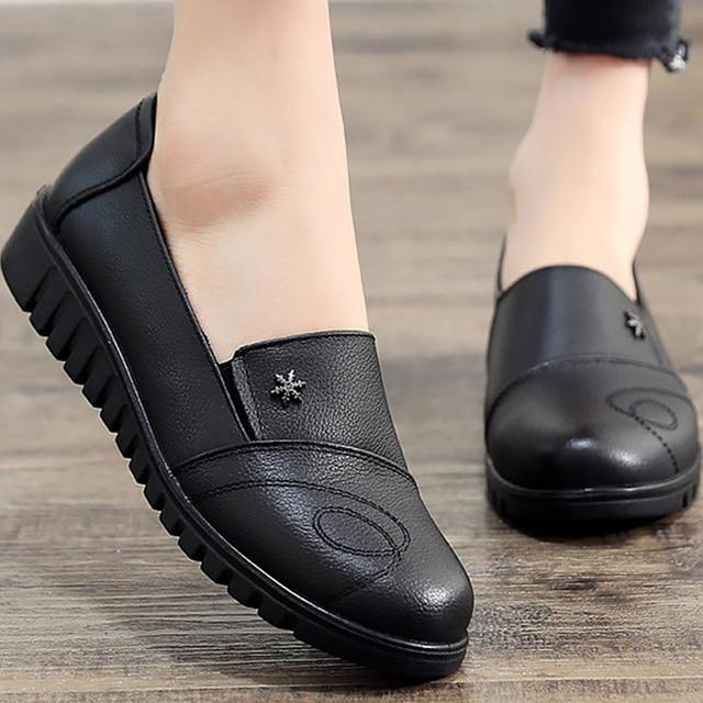 Womens shoes black shoes women flats leisure round toe ladies flats large size 41 genuine leather shoes sapato feminino