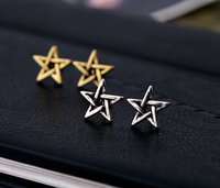 Trendy Punk Lovers Vintage Five-pointed Star Ancient Silver Gold Stud Earring Women 6Pairs/Lot E1103A
