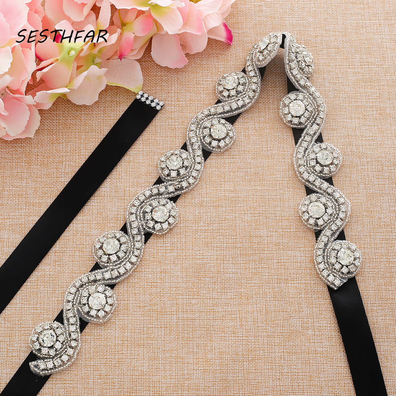 Beaded Bridal Belt Crystal Weddind Belt Silver Rhinestone Bridal Sash Belt For Wedding Accessories J152S