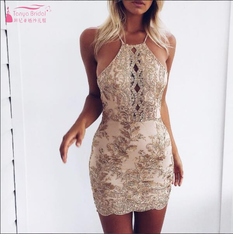 Backless Halter Sexy Short Mini Cocktail Dresses 2019 New Sequin Mini Party Dress Gown Robe Cocktail Cheap