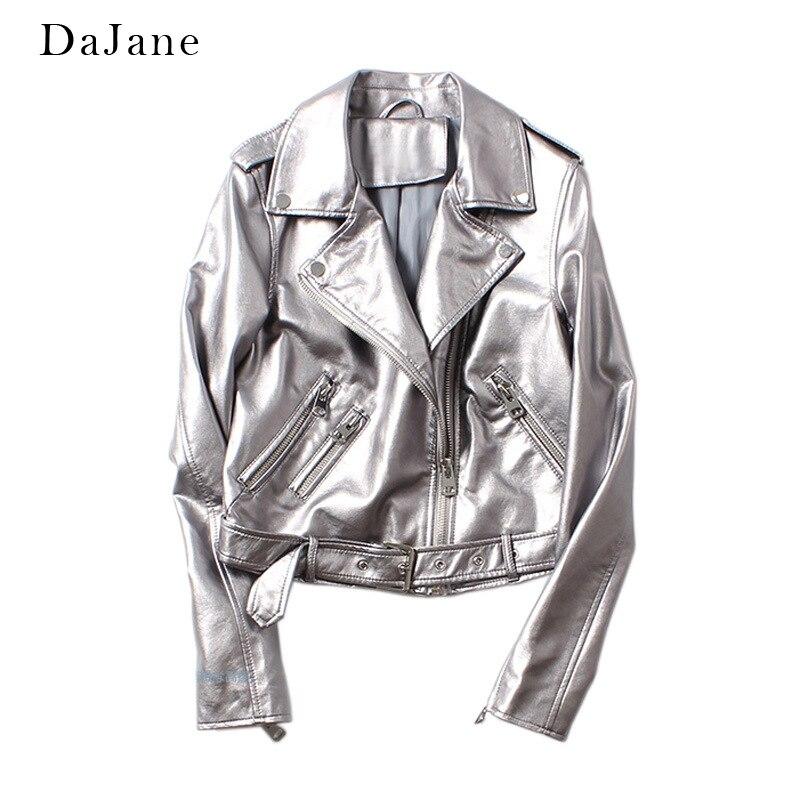 DaJane Autumn New Silver Female PU Washing Machine   Leather   Belt Belt   Leather   Jacket White Gold Color Zipper