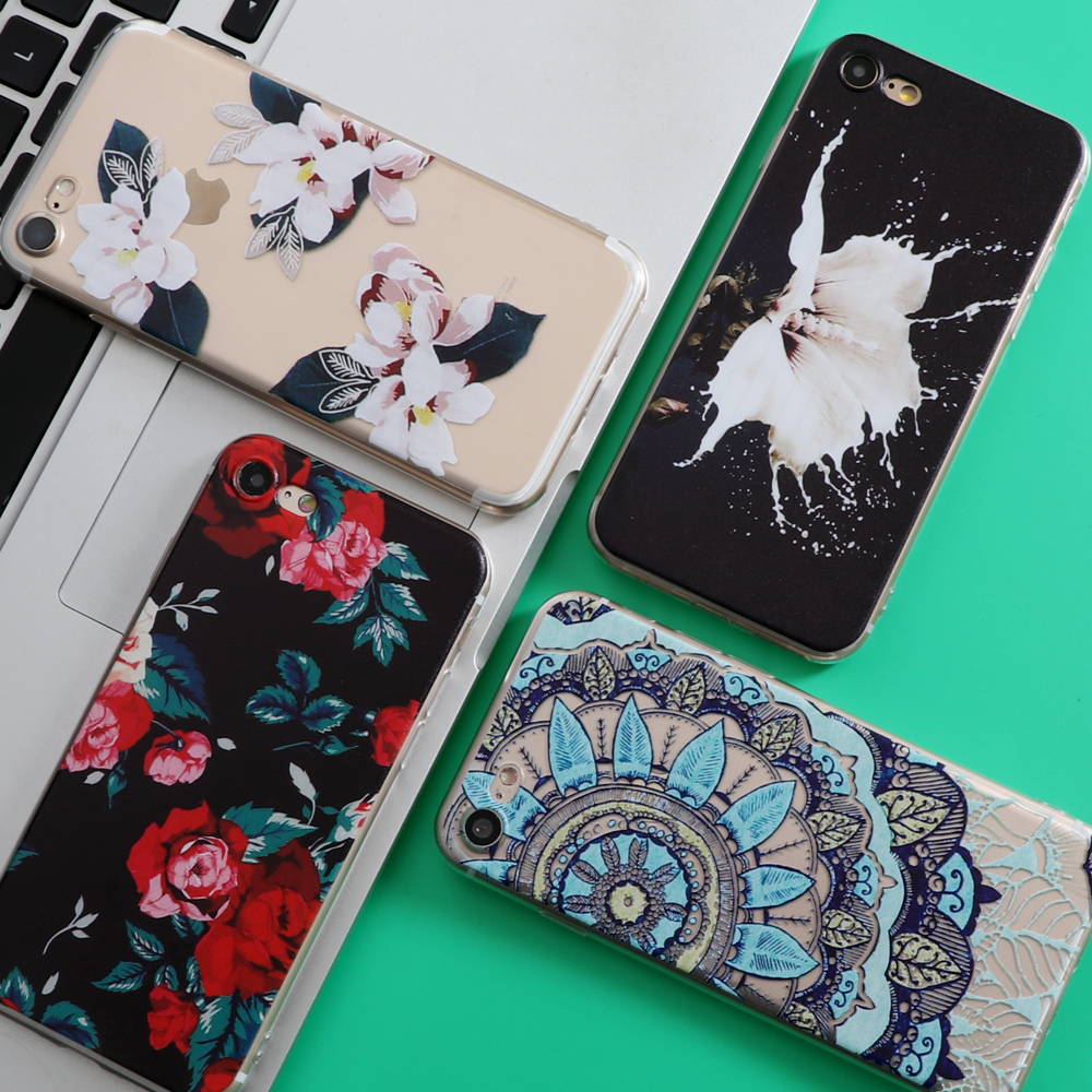 flowers coque for iphone 5 5s se 6 6s 7 plus case for samsung galaxy s4 s5 s6 s7 edge s8 plus j5. Black Bedroom Furniture Sets. Home Design Ideas