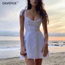فستان صيفي للسيدات لعام 2020 بدون أكمام بفتحات من الدانتيل الأبيض فستان صيفي كاجوال أنيق مطرز للنساءفساتين