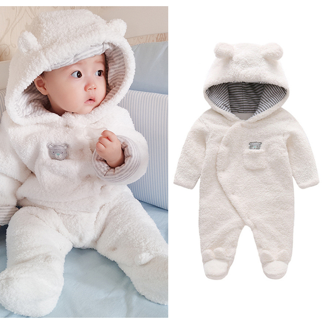 22aef4db765 Fashion Jumpsuit Clothes Newborn Baby Clothes Bear Baby Girl Boy Rompers  Hooded Plush Jumpsuit Winter Overalls For Kids