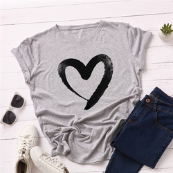 Plus Size S-5XL New Heart Print T Shirt Women 100% Cotton O Neck Short Sleeve Summer T-Shirt Tops Casual Tshirt women shirts 12