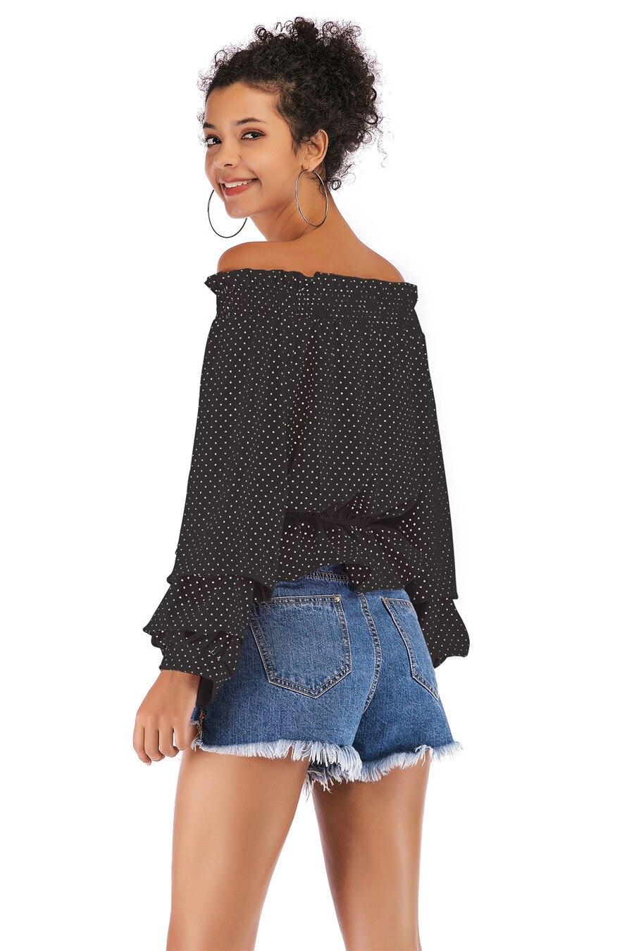 Gladiolus Chiffon Blouse Women 2019 Spring Autumn Long Sleeve Polka Dot Off Shoulder Sexy Blouses Women Shirts Ruffles Blusas (16)