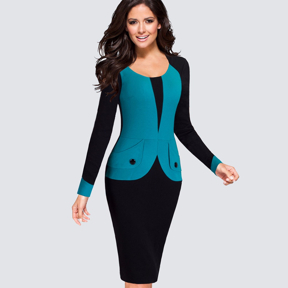 Women Elegant Formal Work Office Business Patchwork Pencil Dress Casual ColorBlock Contrasting Sheath Fitted Bodycon Dress HB343 ...